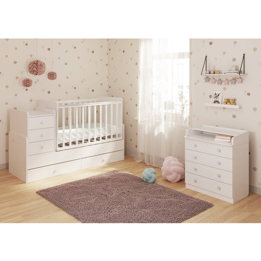 Kudl Cot bed Simple 1100 with drawer unit, white - Simply Utopia