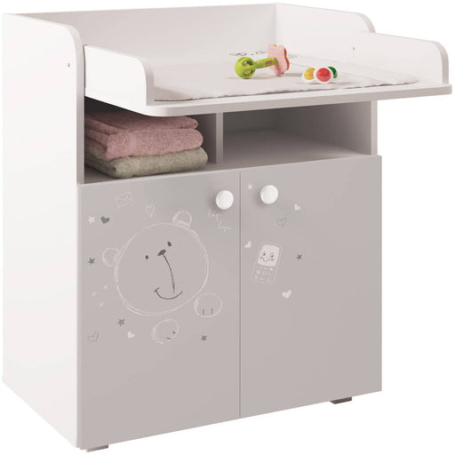Kudl Kids Changing Board Cupboard with Storage 1270, Teddy Print - White - Simply Utopia