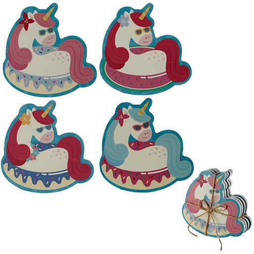 Set of 4 Novelty Coasters - Vacation Vibes Unicorn - Simply Utopia