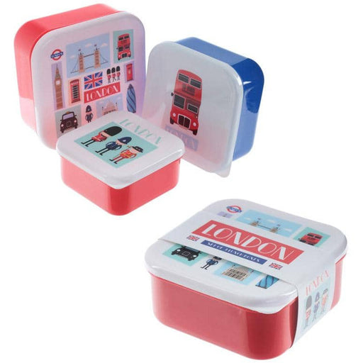 Fun London Design Set of 3 Plastic Lunch Boxes - Simply Utopia
