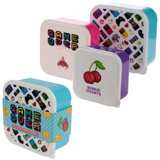 Fun Game Over Design Set of 3 Plastic Lunch Boxes - Simply Utopia
