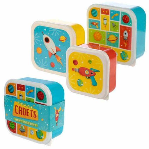 Fun Space Design Set of 3 Plastic Lunch Boxes - Simply Utopia