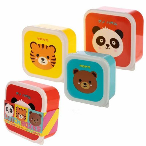Fun Cutiemals Animal Design Set of 3 Plastic Lunch Boxes - Simply Utopia