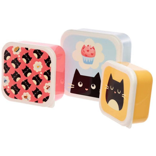 Cute Feline Fine Cat Set of 3 Plastic Lunch Boxes (M/L/XL) - Simply Utopia