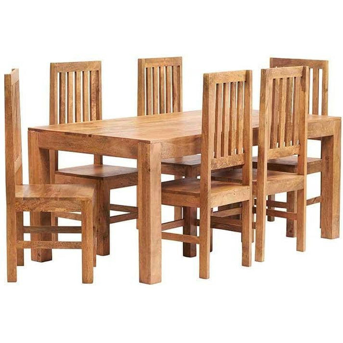 Toko Light Mango 6 FT Dining Set with Wooden or Leather Chairs - Simply Utopia