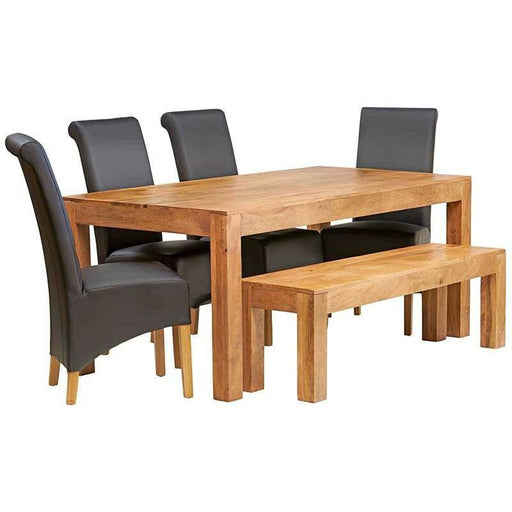Toko Light Mango 6 FT Dining Set with Bench & 4 Slatted or LEATHER CHAIRS Chairs - Simply Utopia
