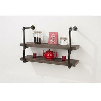 Loft Home double wall shelf with pipe design brackets - Simply Utopia