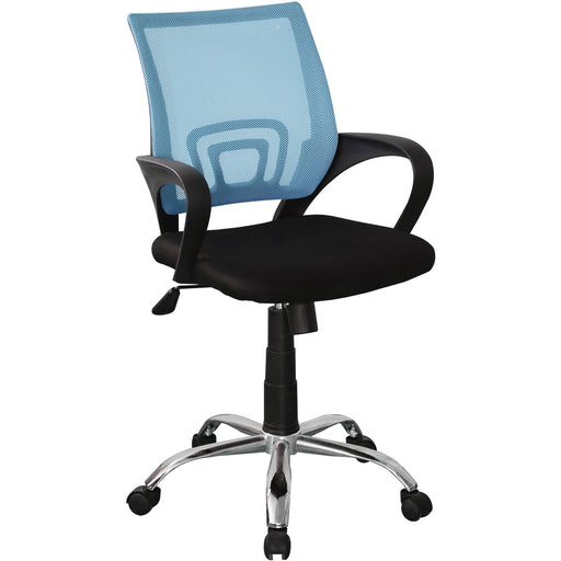 Loft Home Office Study Chair In Blue Mesh Back, Black Fabric Seat & Chrome Base - Simply Utopia