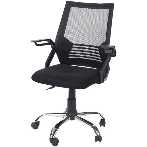 Loft Home Office Study Chair With Arms, Black Mesh Back, Black Fabric Seat & Chrome Base - Simply Utopia
