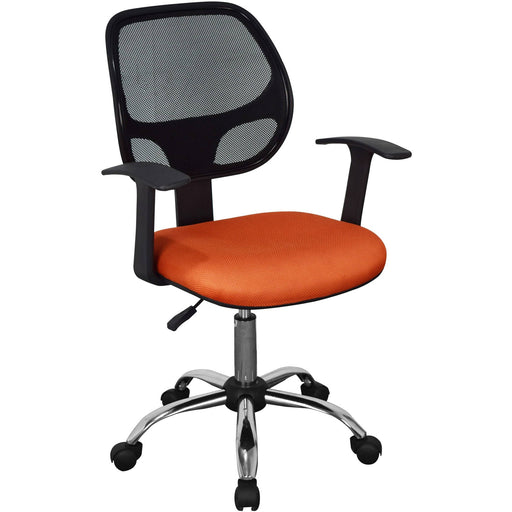 Loft Home Office Home Office Chair In Black Mesh Back, Orange Fabric Seat With Chrome Base - Simply Utopia