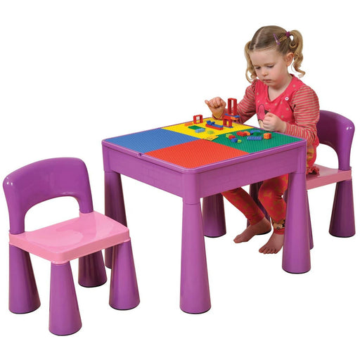 5 in 1 Multipurpose Activity Table & 2 Chairs - Purple - Simply Utopia
