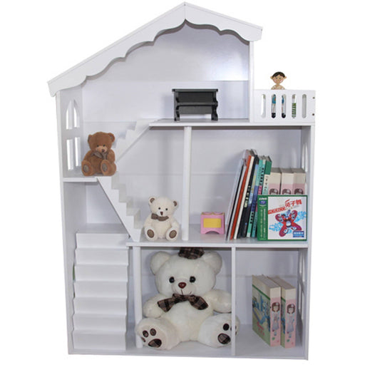 White Dollhouse Bookshelf With Balcony - Simply Utopia