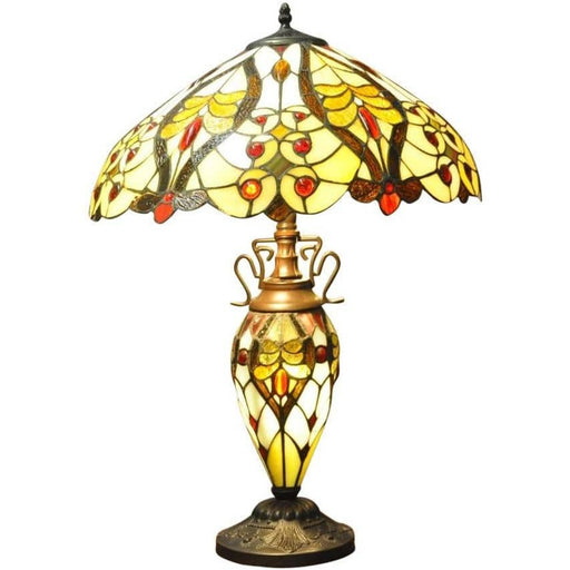 Cream/Red Bullets Double Tiffany Lamp 68cm - Simply Utopia