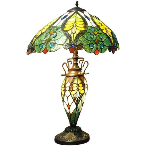 Green & Yellow Double Tiffany Lamp 68cm - Simply Utopia