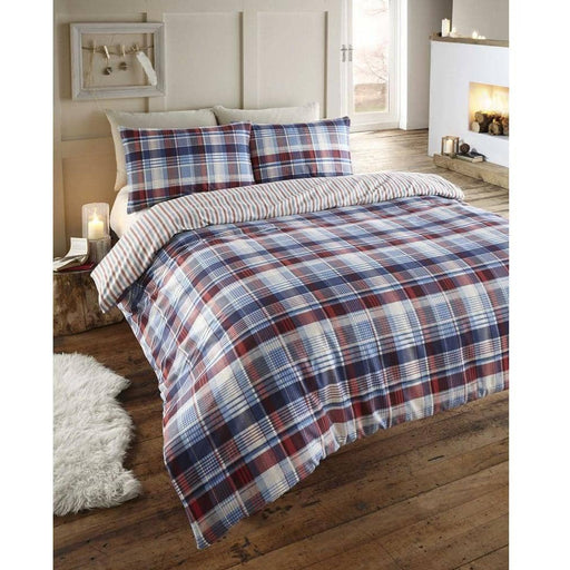 Flan Duvet Set Angus Navy - Simply Utopia