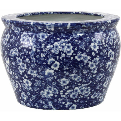 Blue And White Daisy Fishbowl Planter - Simply Utopia