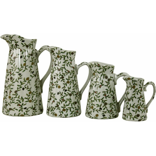 Glazed Ceramic Vintage Green and White Floral Design Set Of 4 Sprig Jugs - Simply Utopia