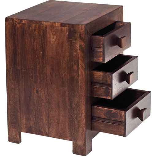 Toko Contemporary Dark Mango 3 Drawer Bedside Table - Simply Utopia