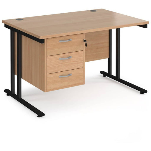 Maestro 25 straight desk beech top With Pedestal - Simply Utopia