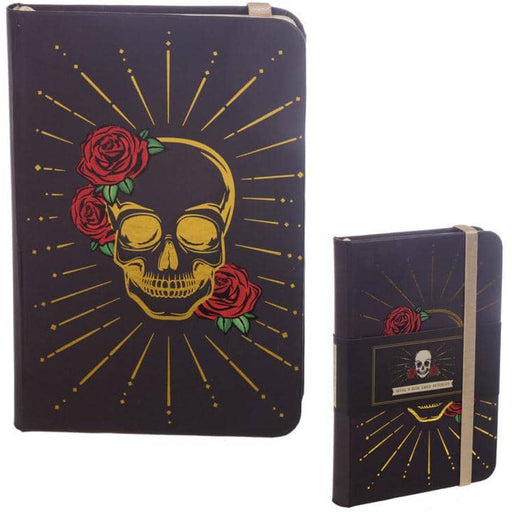 A6 Collectable Hardback Notebook - Black and Gold Skull - Simply Utopia