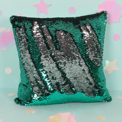 Reversible Silver and Green Sequin Filled Cushion - Simply Utopia