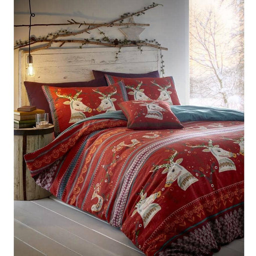 Folklore King Red Flan Duvet Set - Simply Utopia