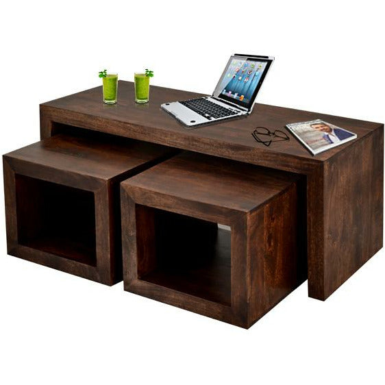 Toko Dark Mango Cubed John Long Coffee Table Set - Simply Utopia