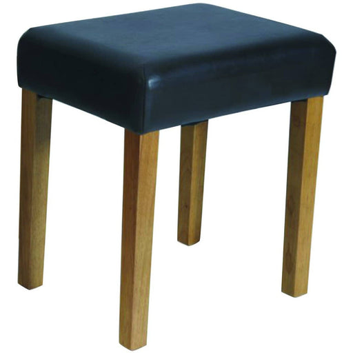 Brown faux leather stool with stained wood leg - Simply Utopia