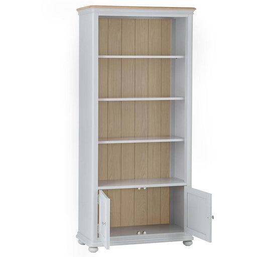 Soft Grey Paint Finished Large Bookcase With 3 Adjustable Shelves - Simply Utopia
