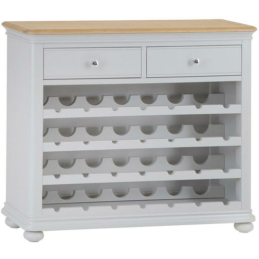 Oak Topped Soft Grey Paint Finish Wine Cabinet With 28 Bottle Holders - Simply Utopia