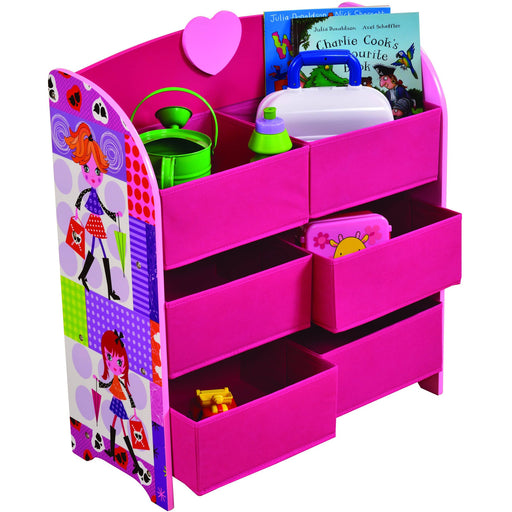 Fashion Girl Storage Shelf with Six Fabric Bins - Simply Utopia