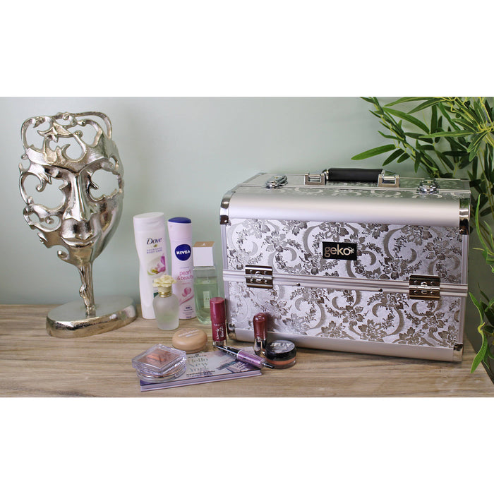 Vanity Case / Makeup Box Silver Leaf Design - Simply Utopia