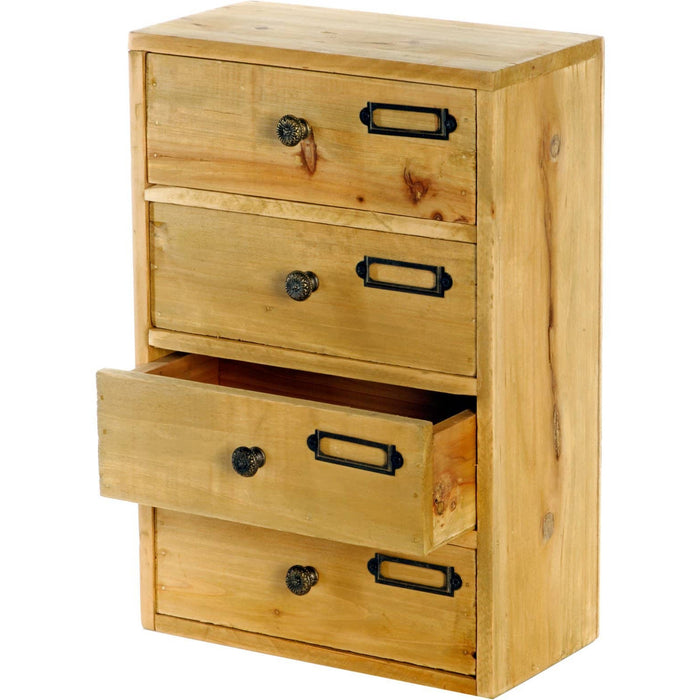 Tall 4 Drawers Wooden Storage 23 x 13 x 34 cm - Simply Utopia