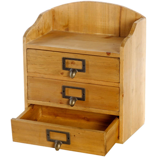 3 Drawers Rustic Wood Storage Organizer - Simply Utopia