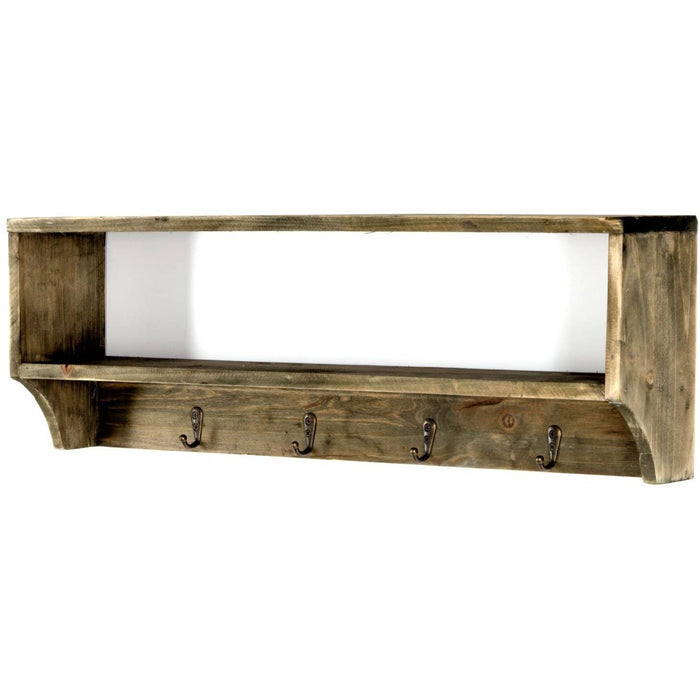 Wooden Wall Shelf with 4 Hooks 54 x 10 x 18 cm - Simply Utopia