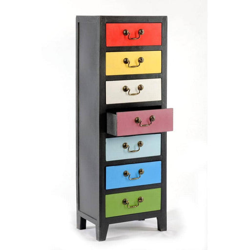 Rainbow Tall Cabinet with 7 Drawers 38 x 26 x 110cm - Simply Utopia