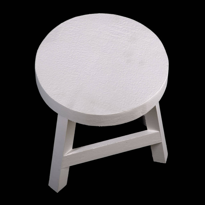 White Three Legged Stool Standing at 23 cm High - Simply Utopia