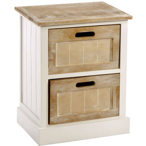 White Wooden Cabinet 2 Drawer 38 x 28 x 48cm - Simply Utopia