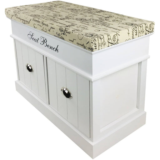 White Seat Bench With 2 Drawers & Lid 70cm - Simply Utopia