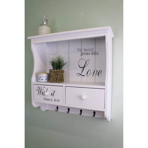 Wall unit in white with hooks/drawers and shelf - Simply Utopia