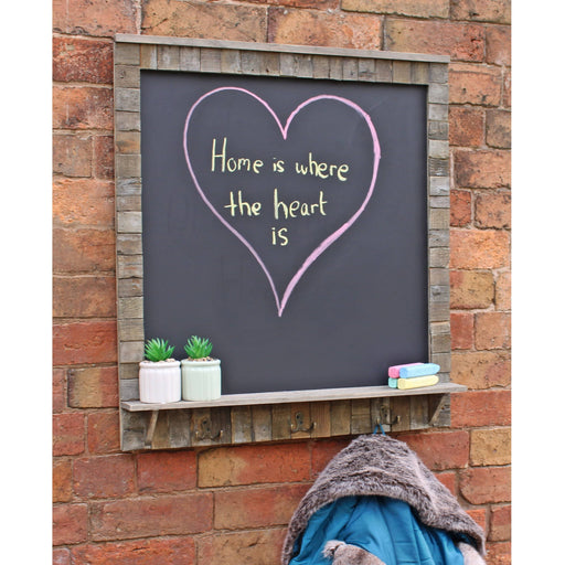 Large Blackboard with Driftwod Effect Surround, Shelf and 3 Double Hooks - Simply Utopia
