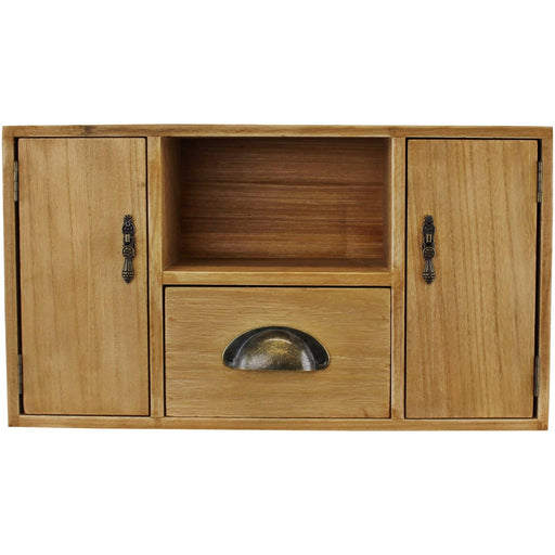 Small Wooden Cabinet with Cupboards, Drawer and Shelf - Simply Utopia