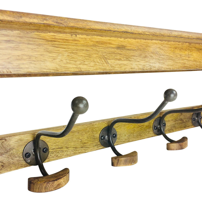 Solid Wood Bracket With 5 Hooks 71cm - Simply Utopia