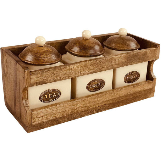 Wooden Rack with 3 Ceramic Jars - Simply Utopia