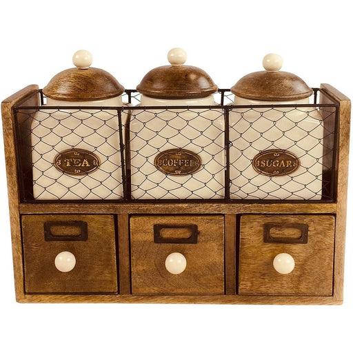 Wooden Cabinet With 3 Jars & Drawers - Simply Utopia