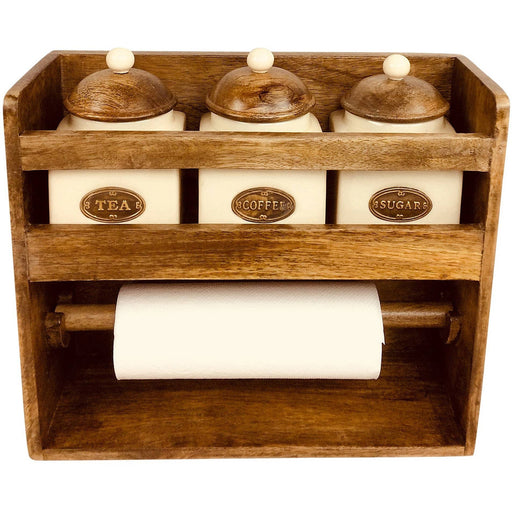 Kitchen Roll Holder With 3 Jars - Simply Utopia
