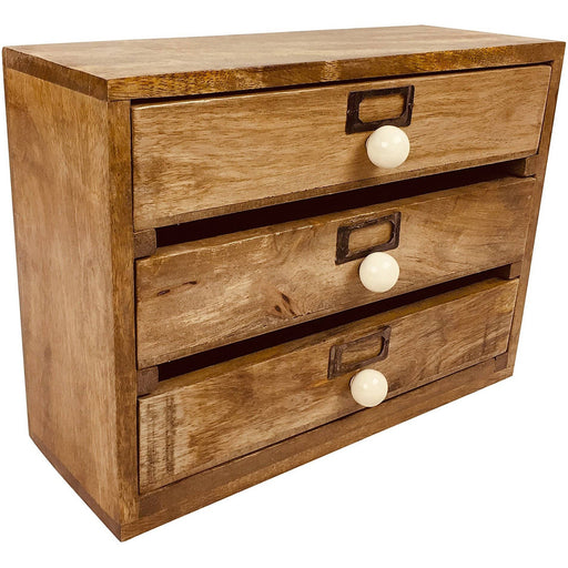 Solid Wood Three Drawer Desktop Organiser 28cm - Simply Utopia