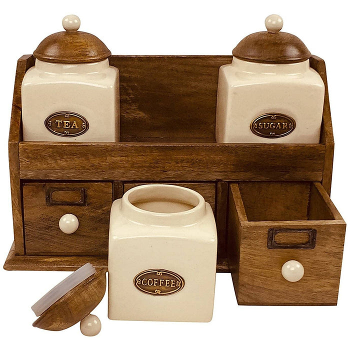 Three Ceramic Jars With Wooden Drawers - Simply Utopia