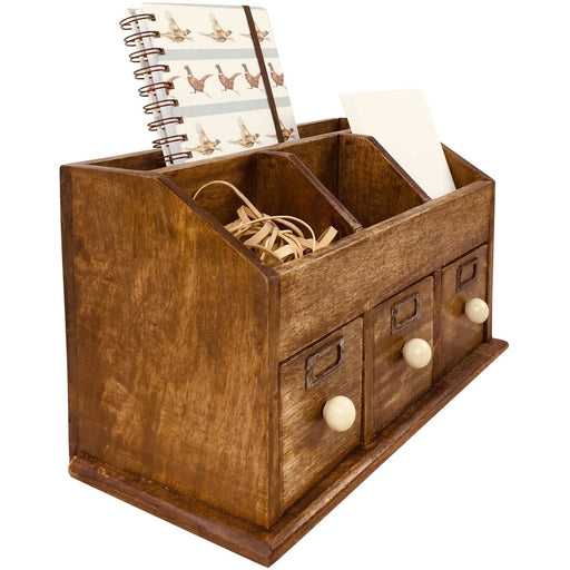 Rustic Desktop Organiser With Drawers 37cm - Simply Utopia