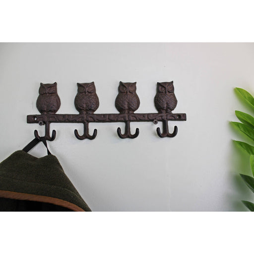 Rustic Cast Iron Wall Hooks, Owls - Simply Utopia